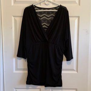 Black Lace V Neck 3/4 sleeve blouse